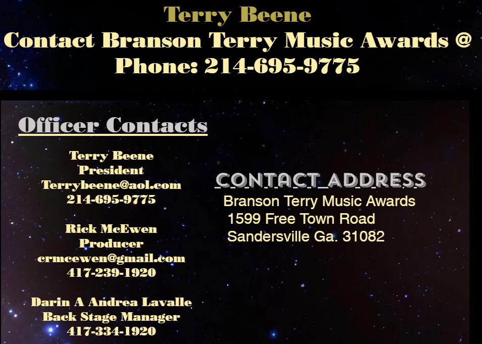 branson terry awards contacts